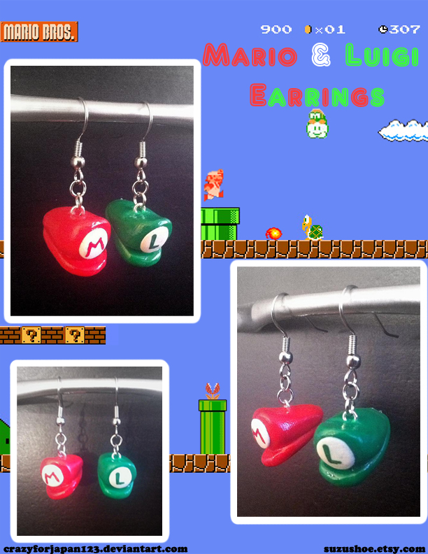 Mario and Luigi Earrings by CrazyForJapan123
