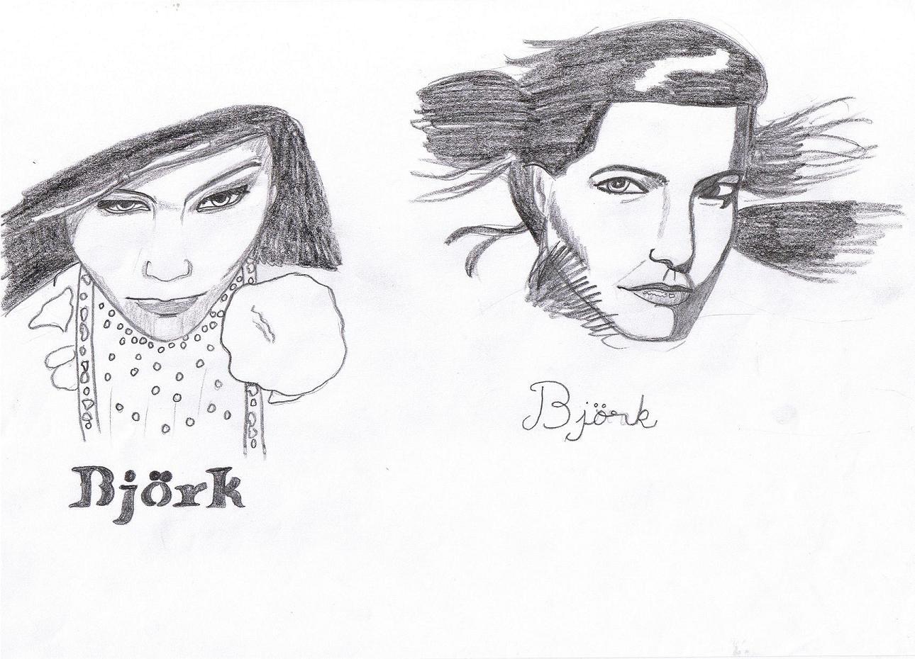 Bjork's faces by Cruxis_Katz