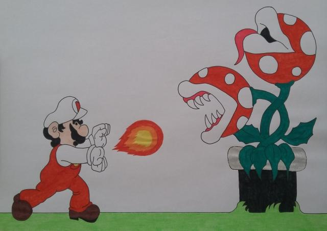 Mario vs. Plant! by cavaloalado