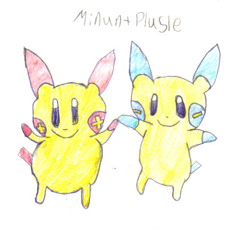 Minun and Plusle by charmander34