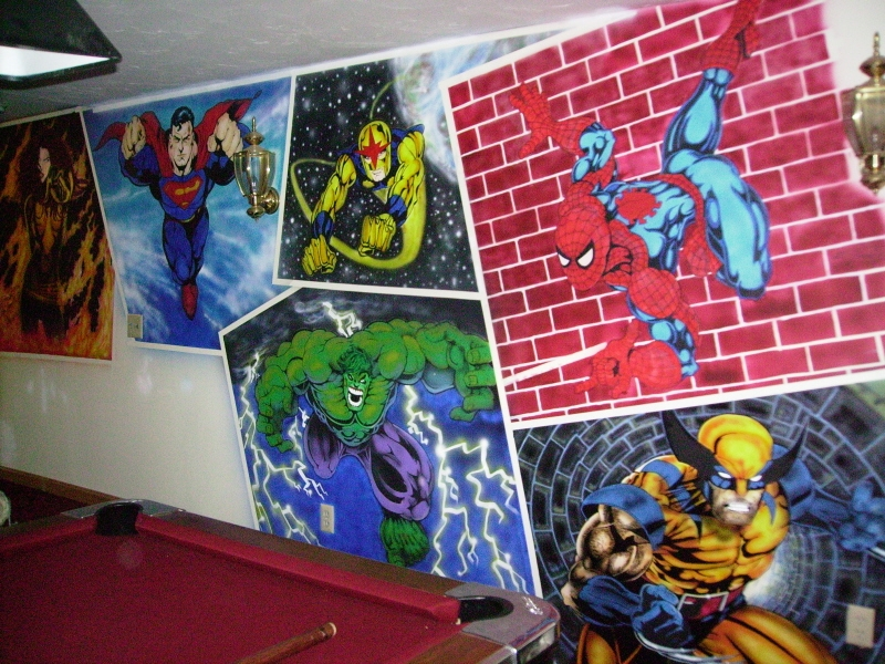 Full superhero wall mural by dark reign fanart central for Comic book wallpaper mural