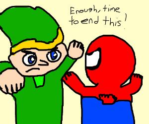 Link fights Spiderman by Dariusman143