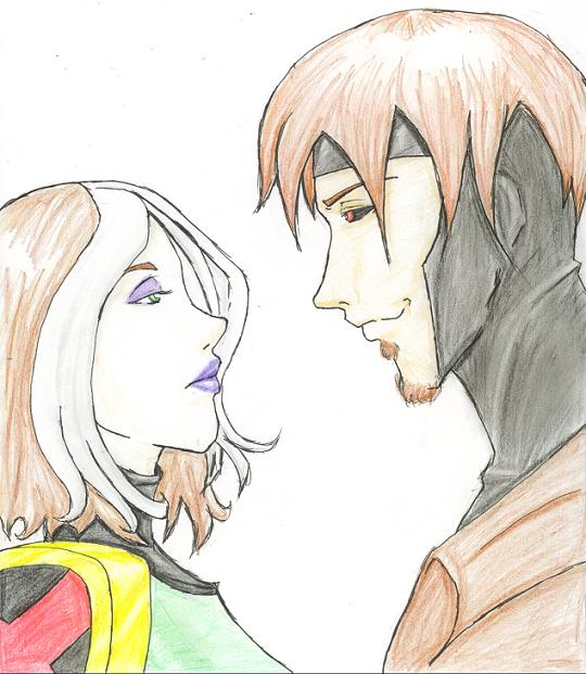 Gambit and Rogue by DarkDragonMaster
