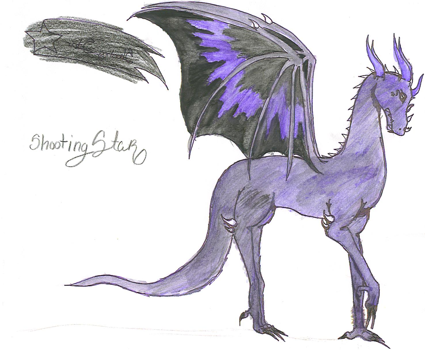 Shooting Star- - My watercolored paper dragon by Dark_Dragon_Dreamer