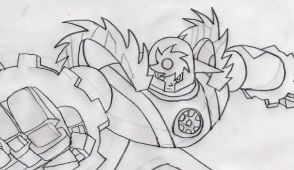 Art trade with diablo (Metalman EXE) by Darkecho