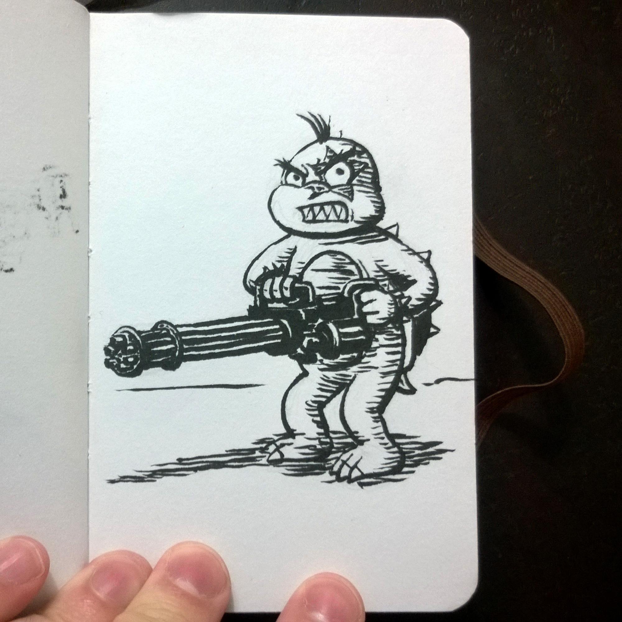 Morton Koopa Jr. w/ minigun by DeathbyChiasmus