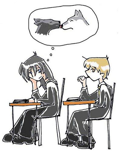 Sirius and Remus at school by DezWagner