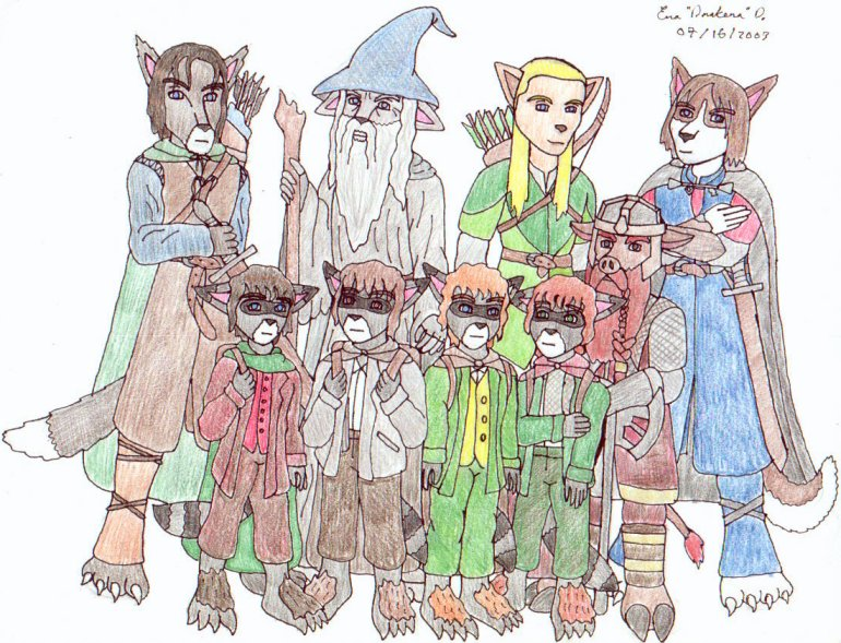 Fellowship Furries (LOTR/FUR) by DrakenaTheDestroyer