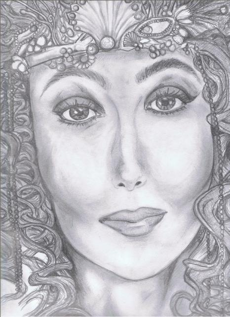 Cher Mermaids Pencil Drawing by darkestdevil