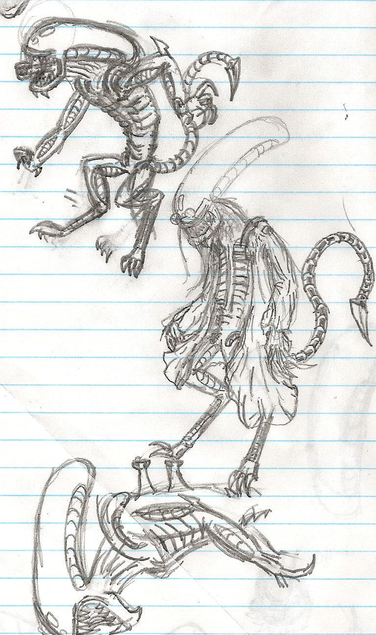 Alien sketches by darkone10