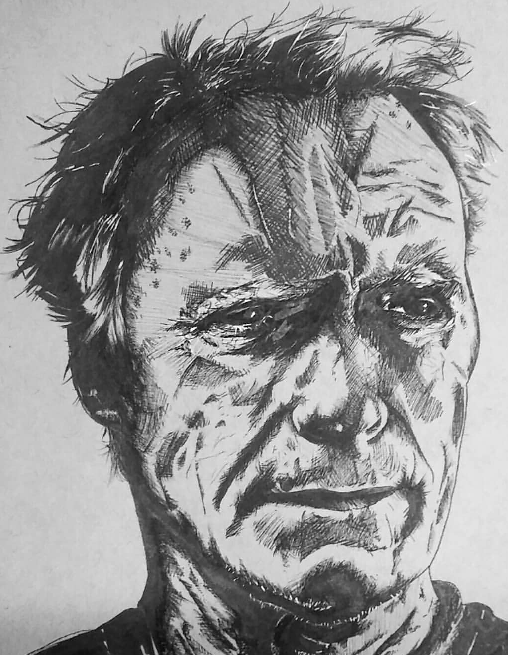 Clint Eastwood ink study by demonofsand