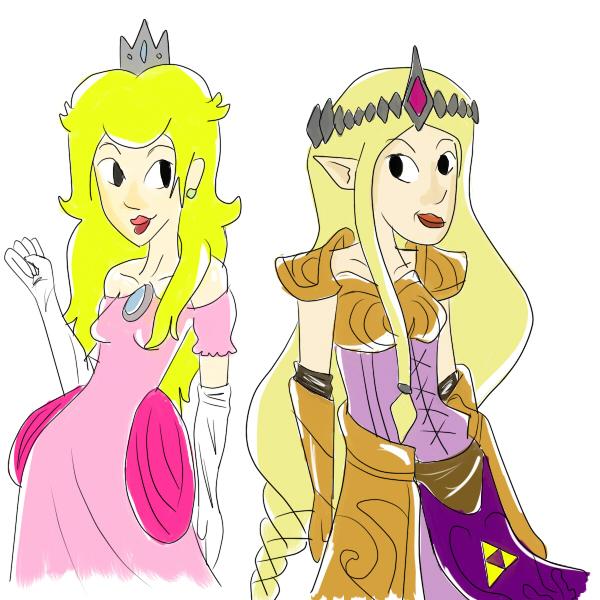 Princess Peach and Zelda by dexterouskatphantom