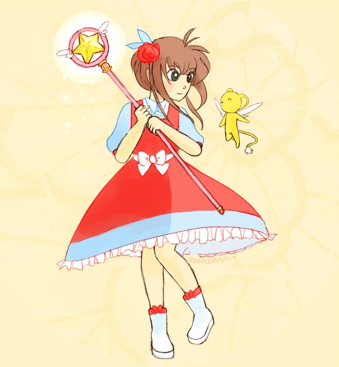 Sakura and Kero by doodlemancy