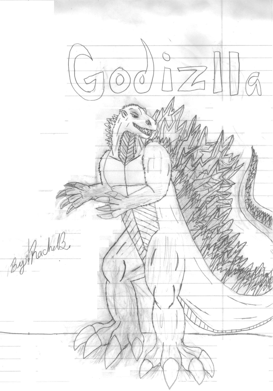 Godzilla (not colored) by dragon45