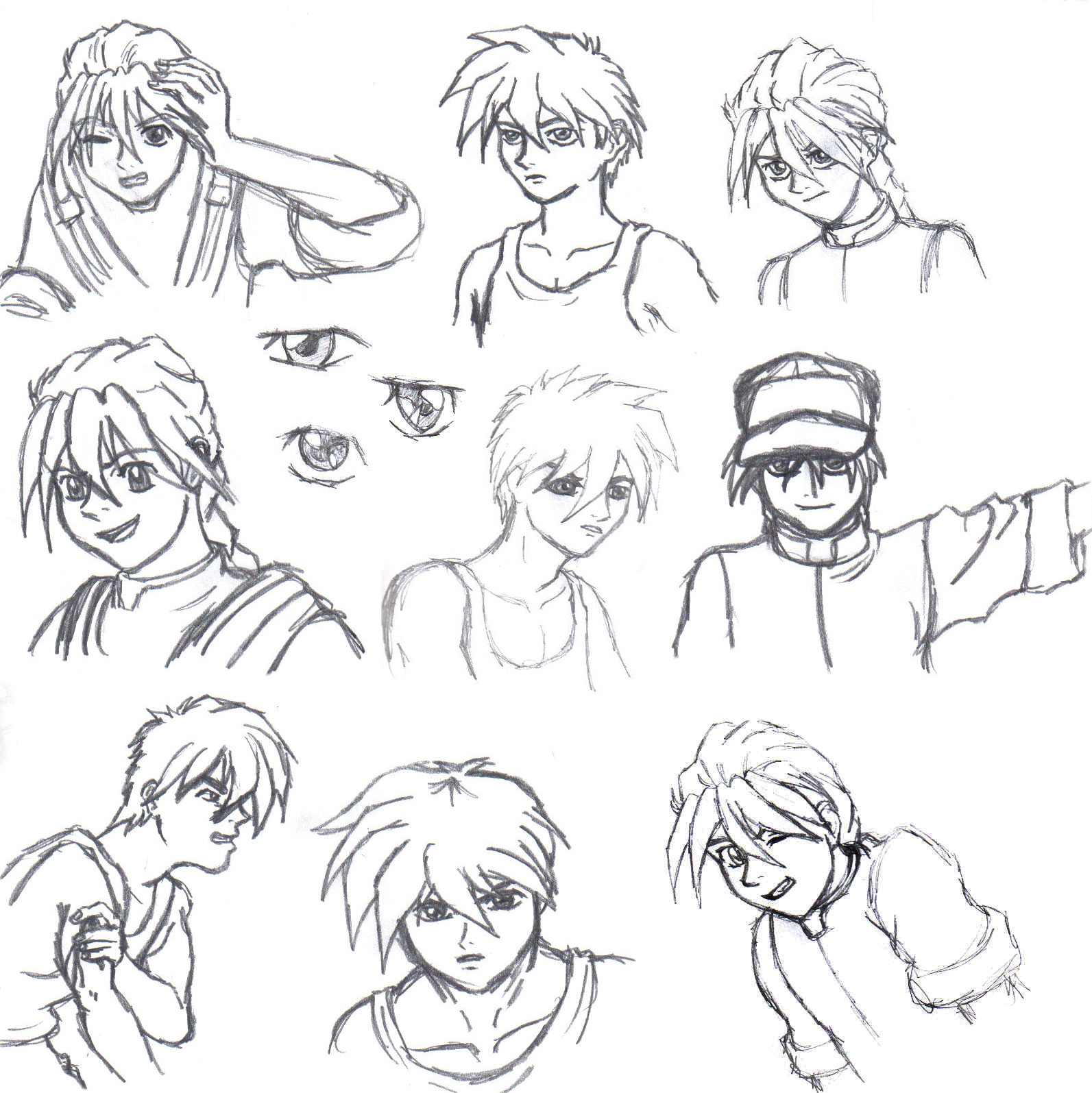 Duo and Heero sketches by Emeraldwolf