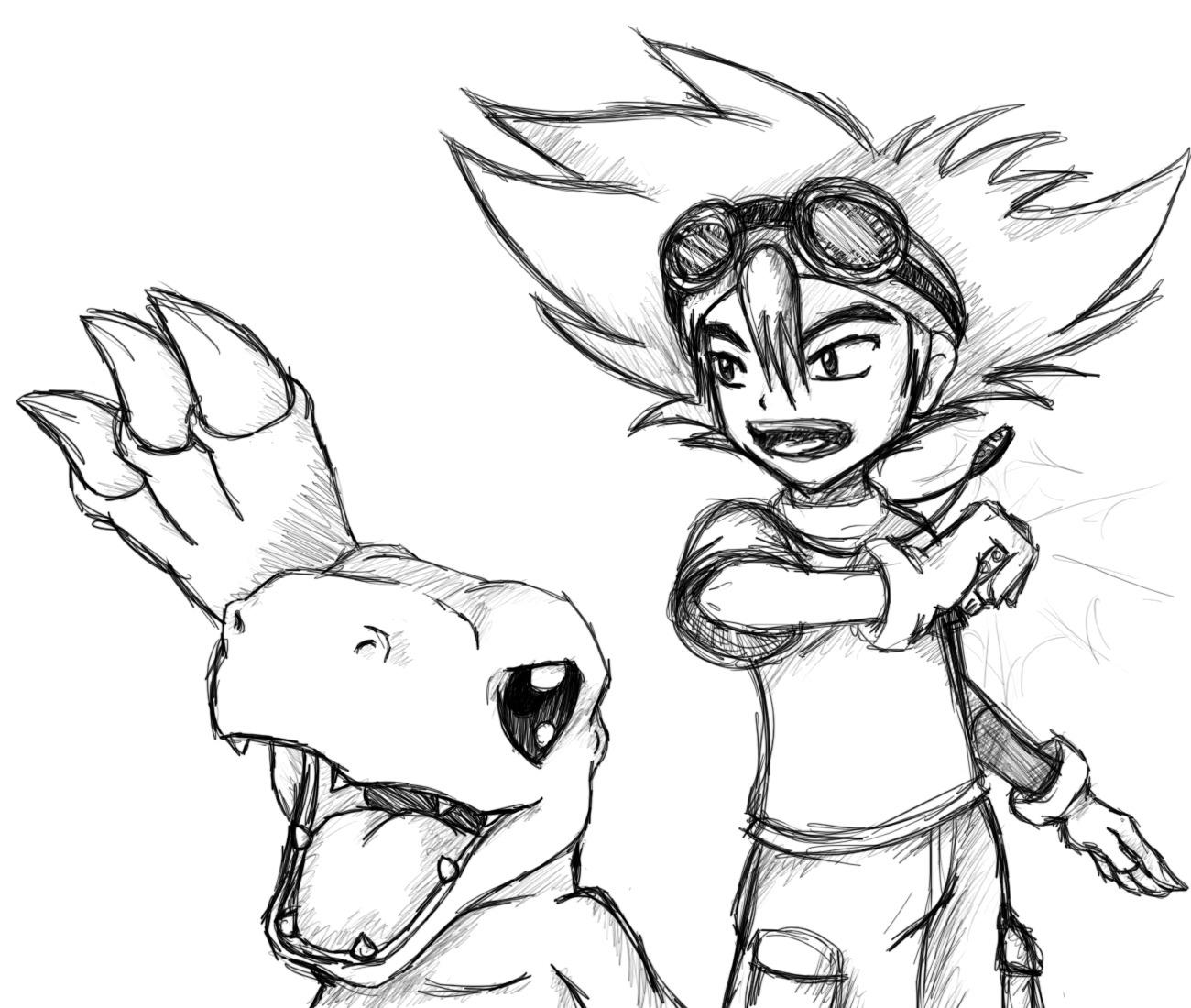 Tai and Agumon by Emeraldwolf