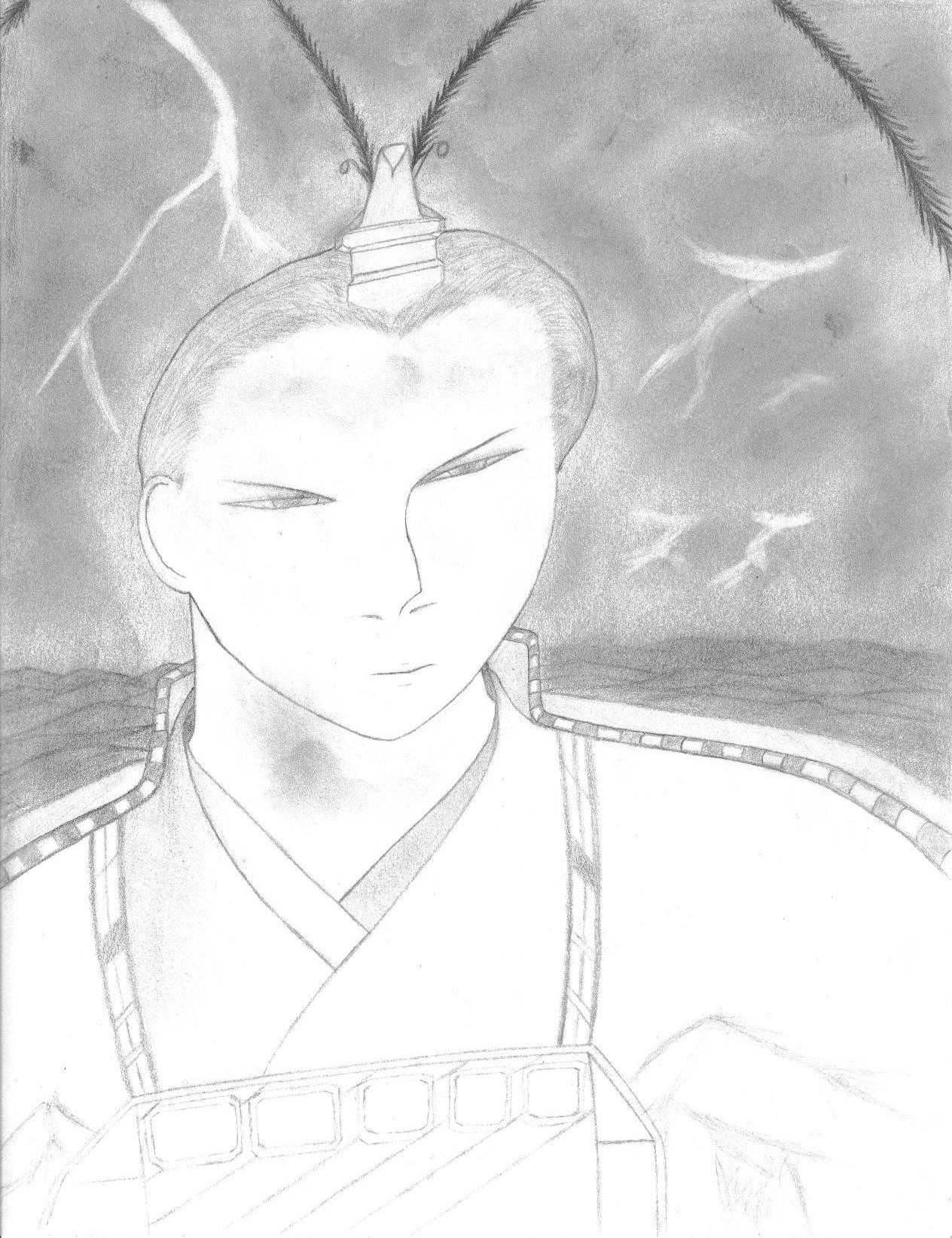 Lu Bu (Pencil sketch) by Evil_Xero