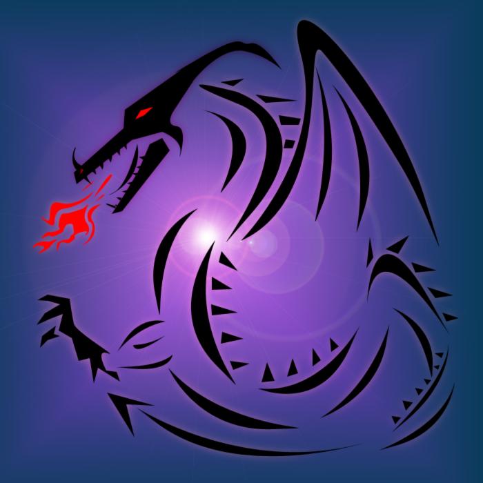 Black dragon stencil by evil_within_u