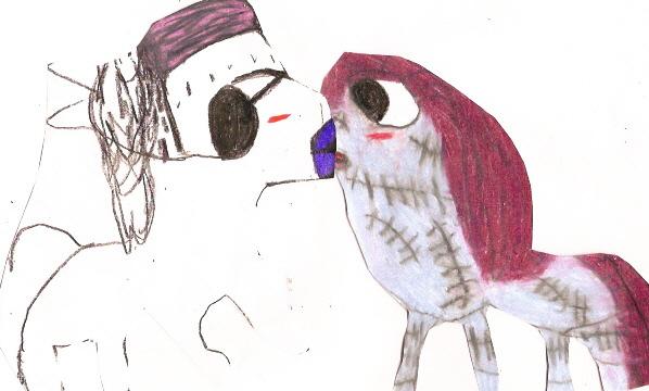 Finkie Horsie X Sally Horsie Kiss^^ by Falconlobo