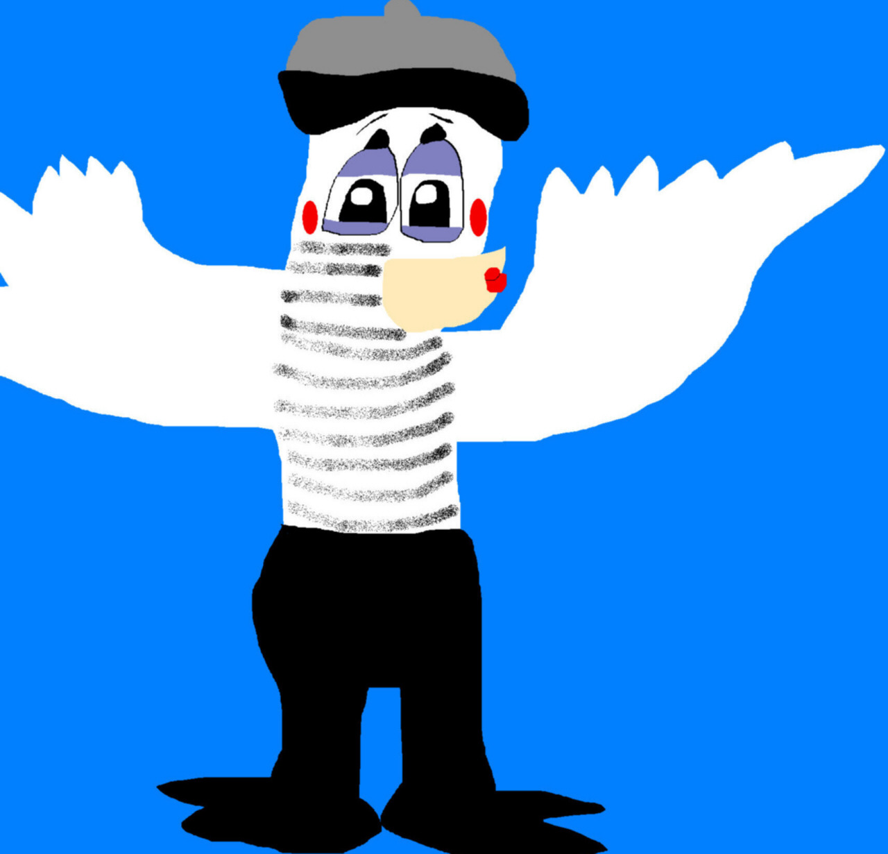 Mime Bird Holding Up An Invisable Wall  MS Paint^^ by Falconlobo