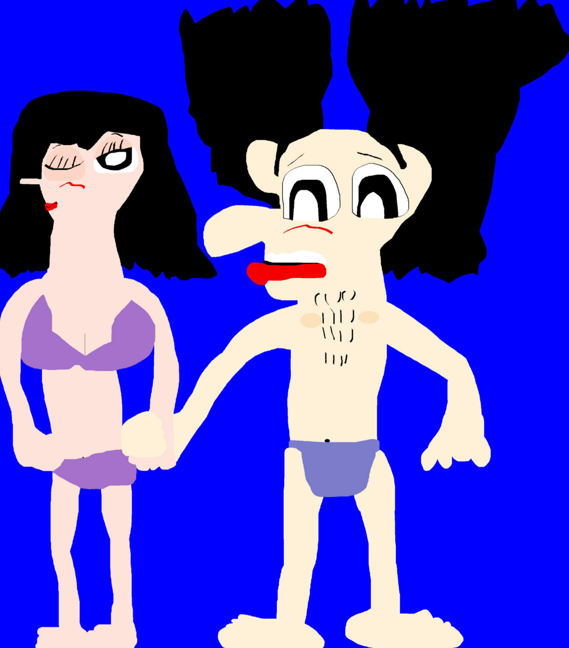 Random Noodman And Darlene In Undergarments Holding Hands MS Paint by Falconlobo
