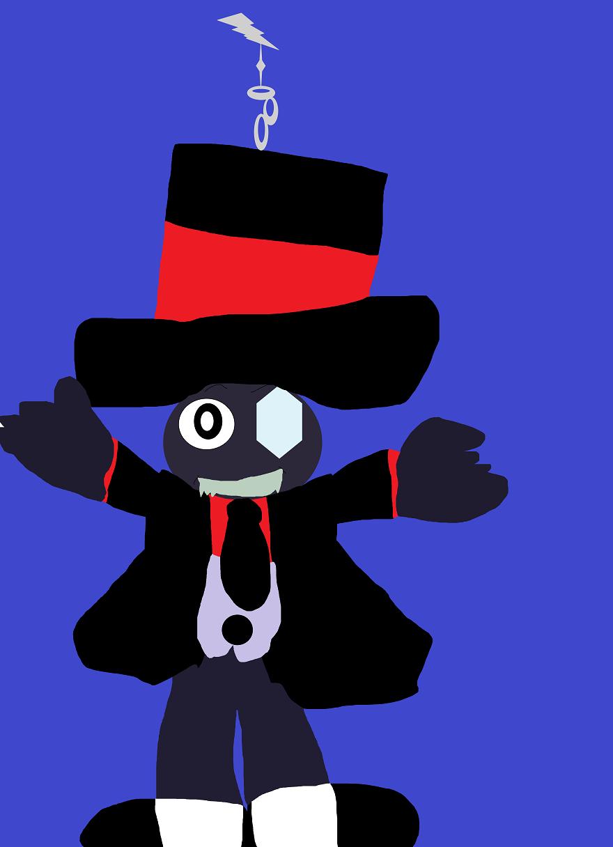 Black Hat Chibi Keyring MS Paint by Falconlobo