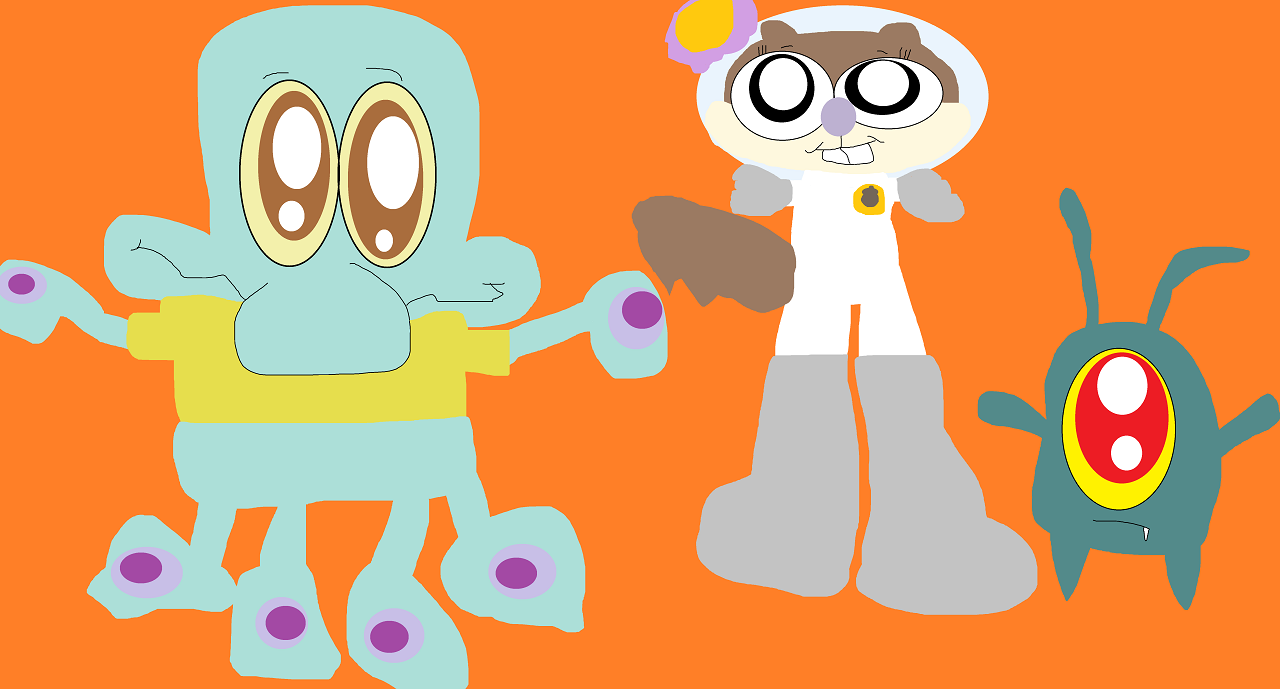 Silly Eyed Squidie Sandy And Plankton Added by Falconlobo