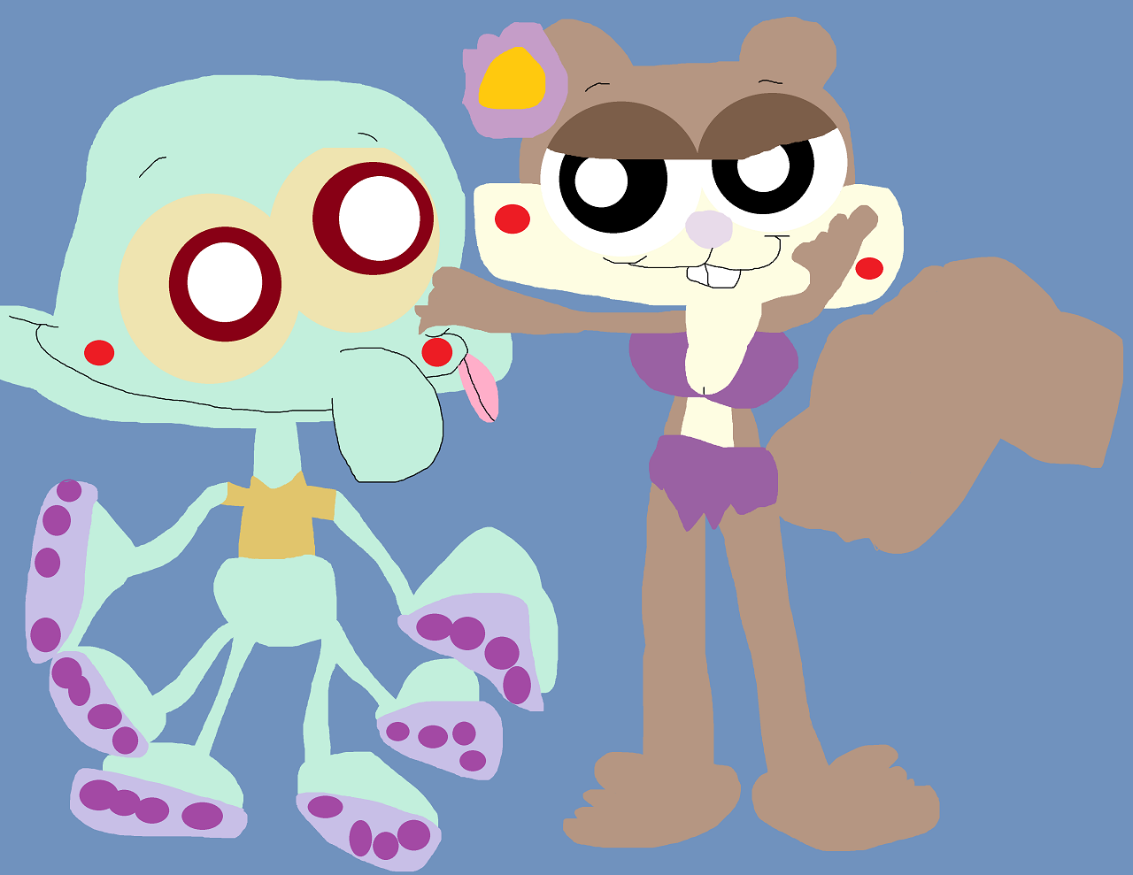 Squidie And Sandy Cheebs by Falconlobo