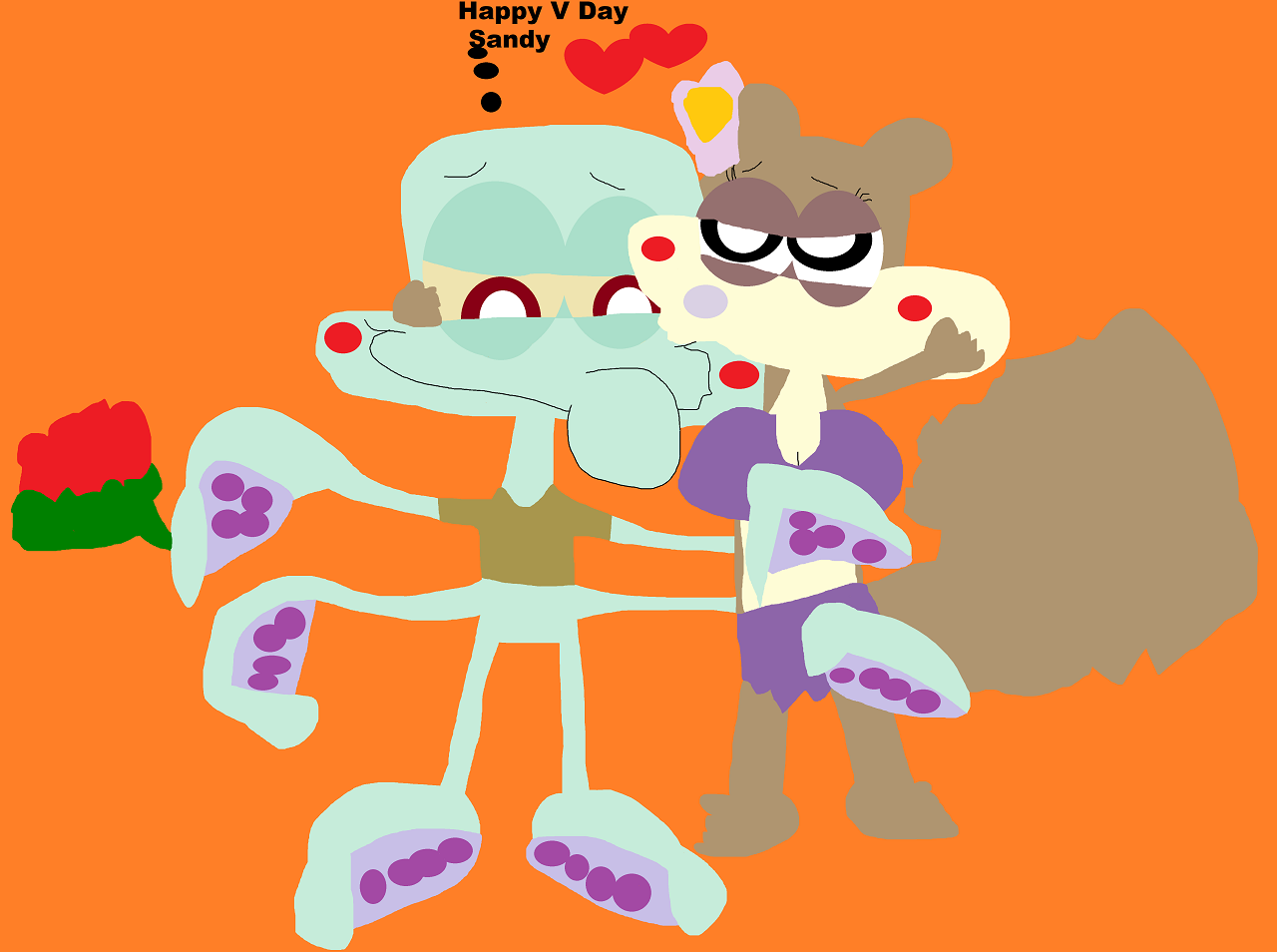 Squidward Has Flowers For Sandy For V Day by Falconlobo