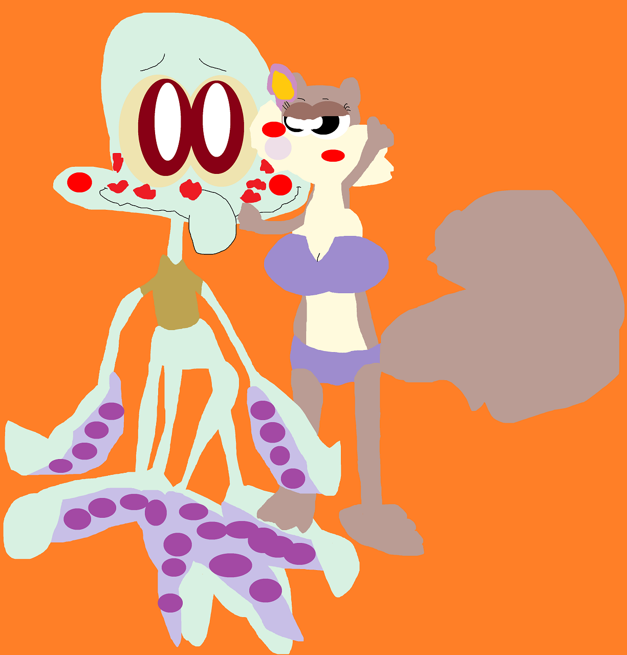 Sandy Smothering Squidward  With Kisses Request For sonokoa162 by Falconlobo