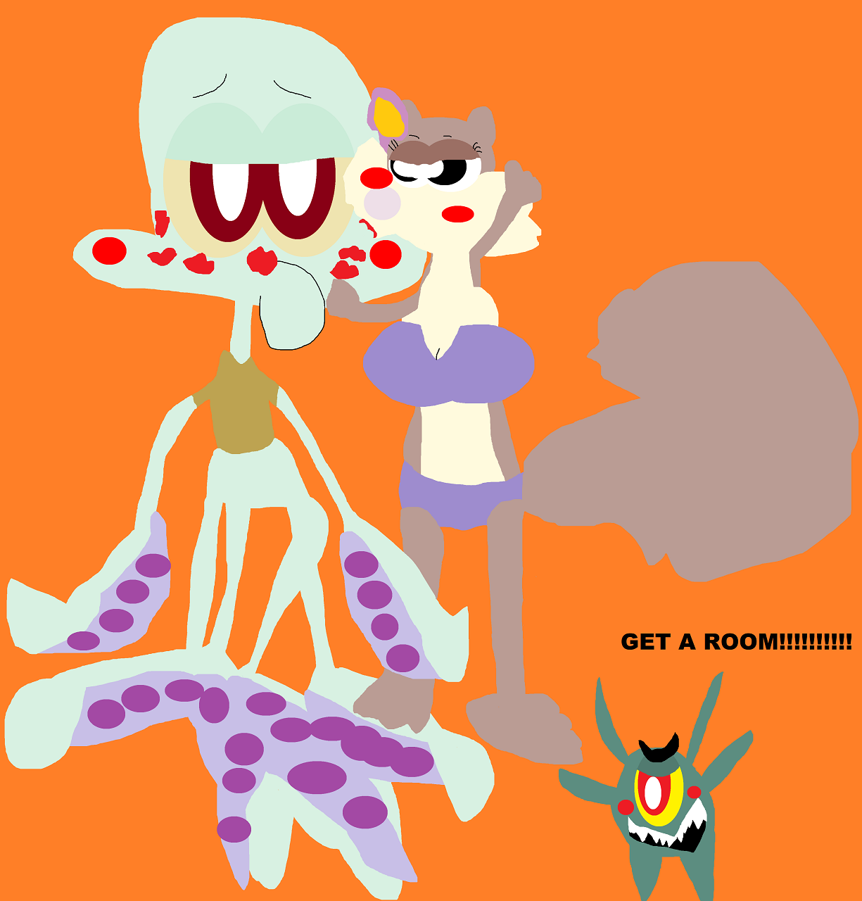 Sandy Smothering Squidward With Kisses Alt For sonokoa162 by Falconlobo
