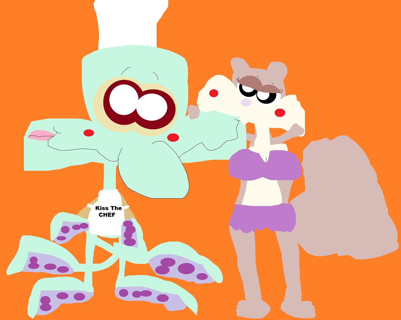 It Pays To Advertise Squidward And Sandy^^ by Falconlobo