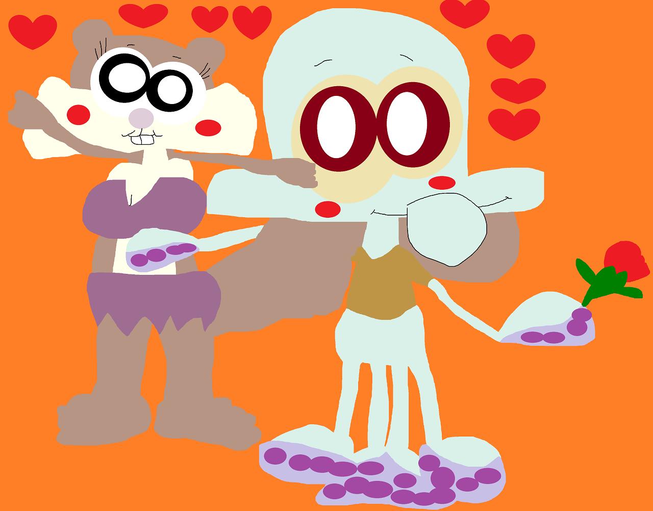 Just A Cute Random Chibi Eyed Squidward And Sandy by Falconlobo