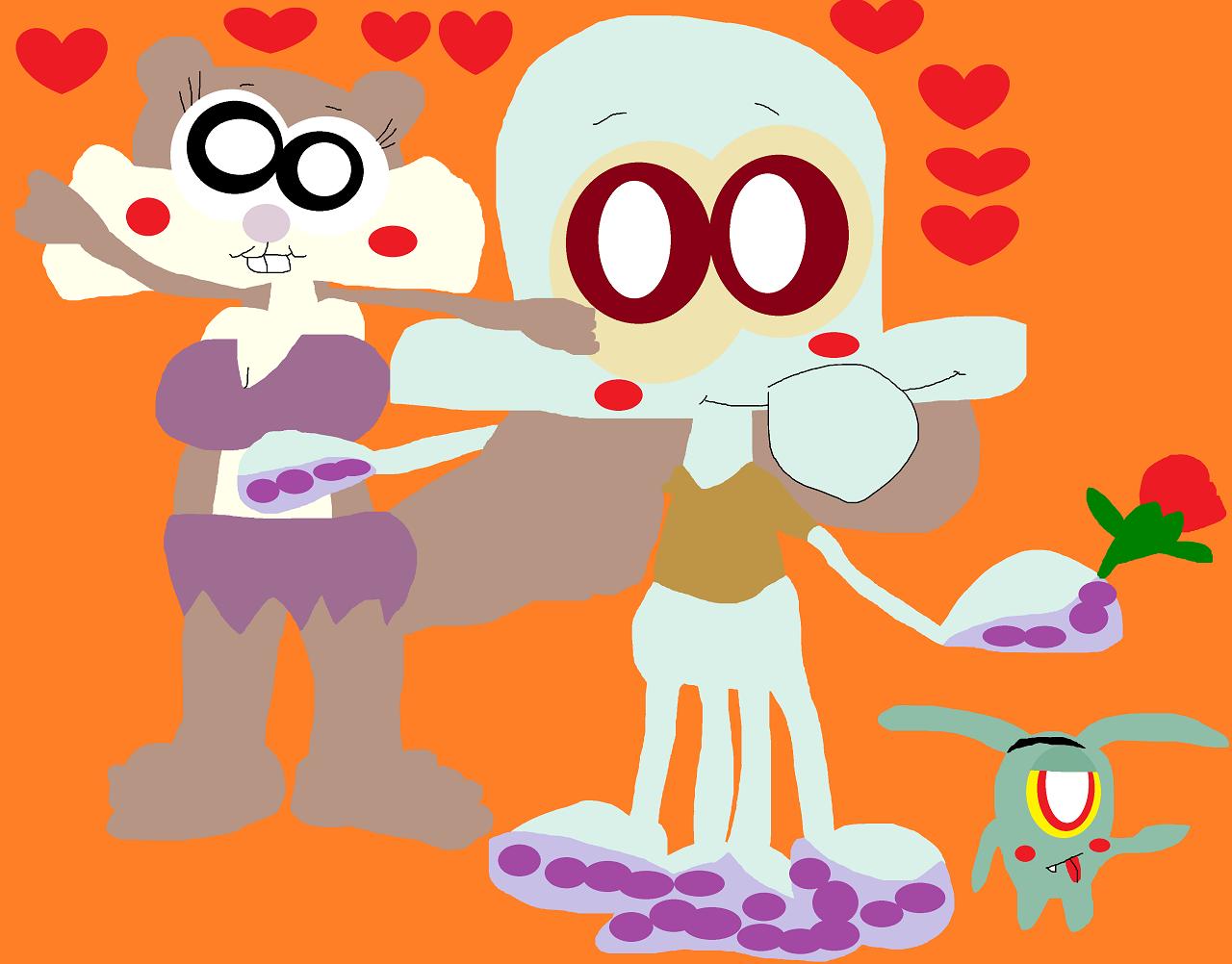 Just A Cute Random Chibi Eyed Squidward And Sandy Alt by Falconlobo