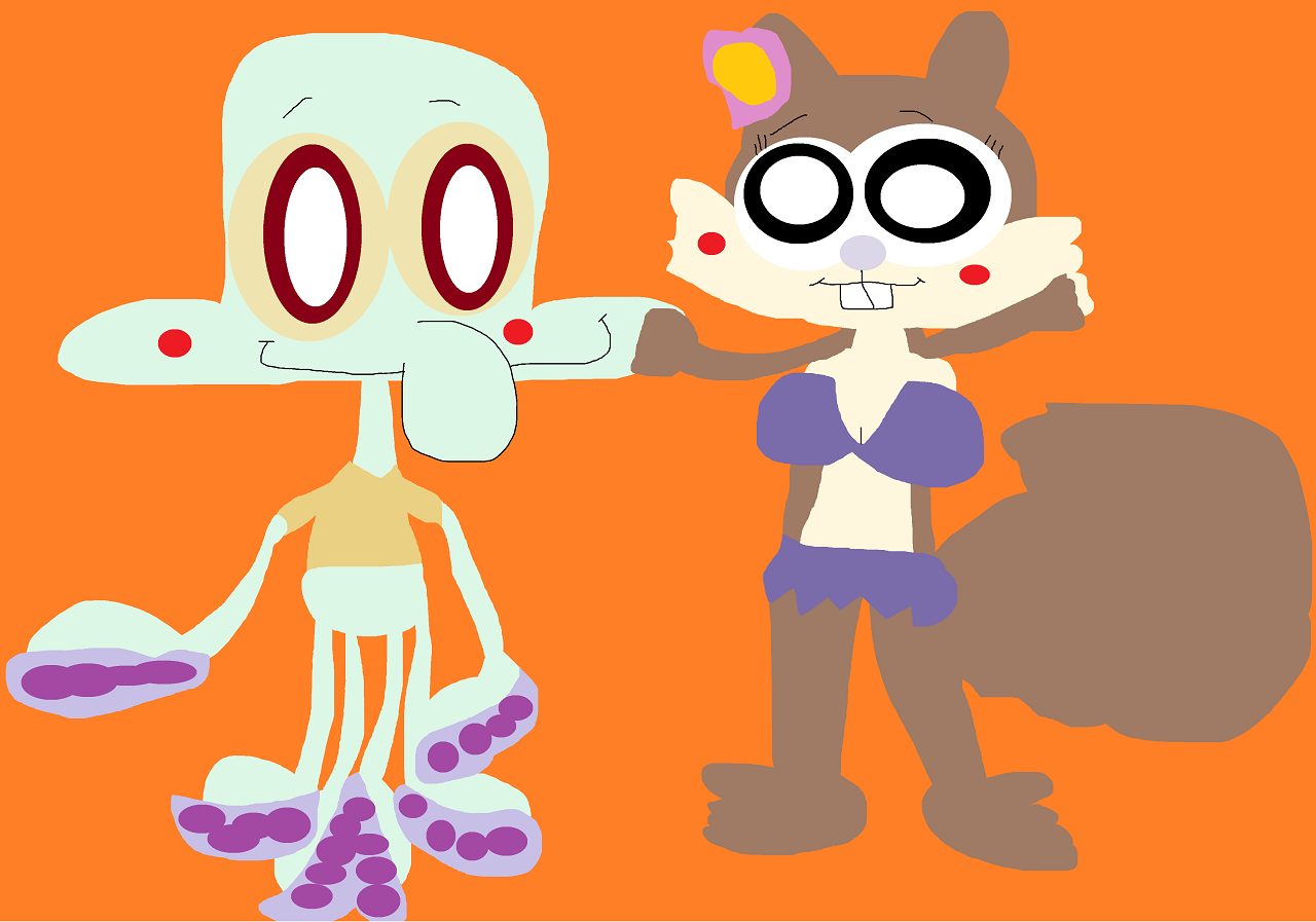 Just A Random Cute Squidward And Sandy by Falconlobo