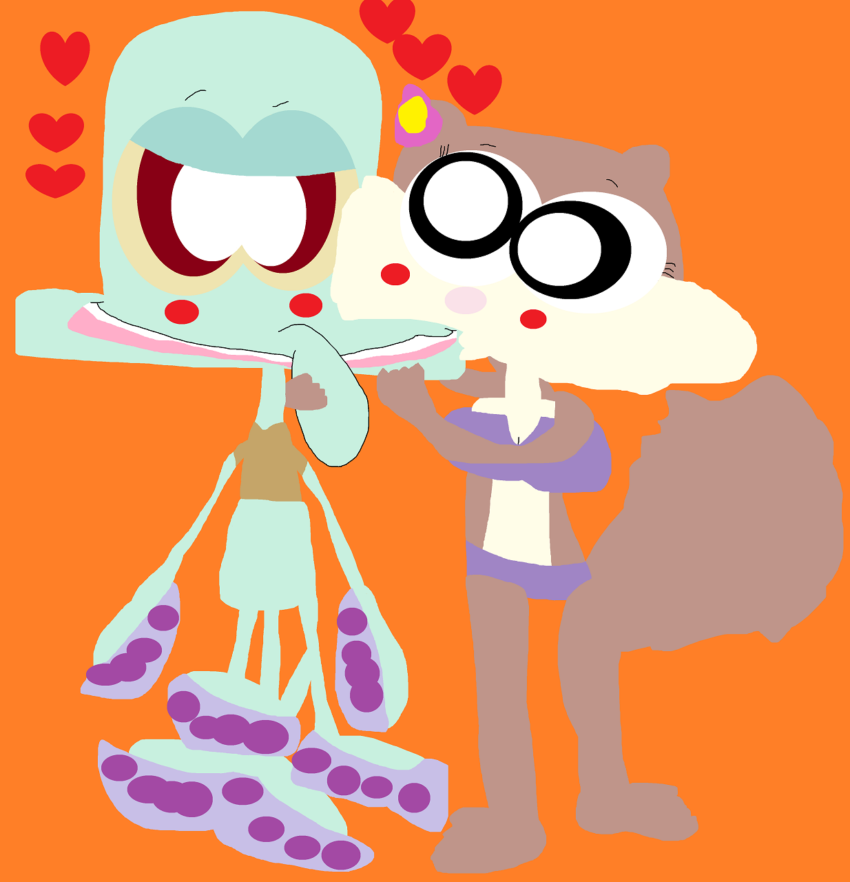 More Squiddie Sandy  Kissy TIme by Falconlobo