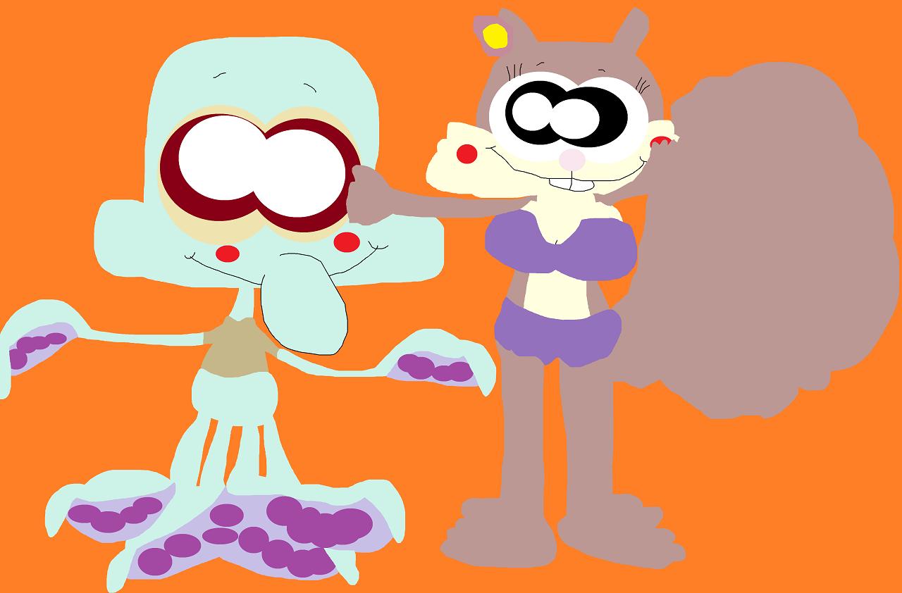 Just A Random Squidward And Sandy Scene by Falconlobo