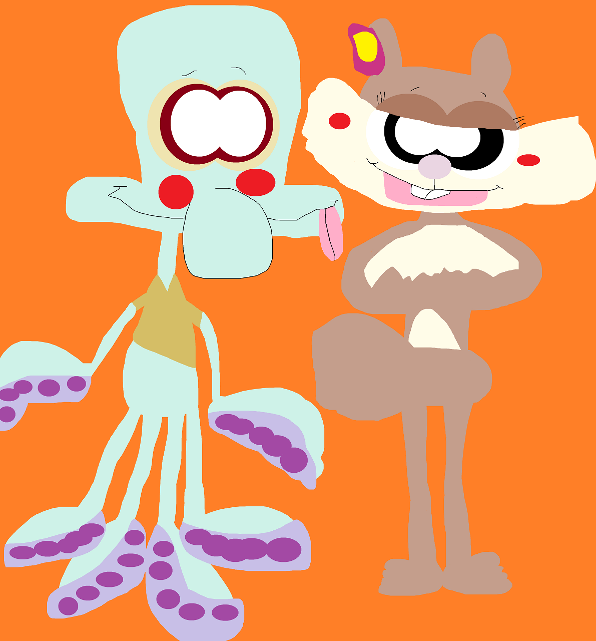 Just Sandy Enticing Squidward Again by Falconlobo