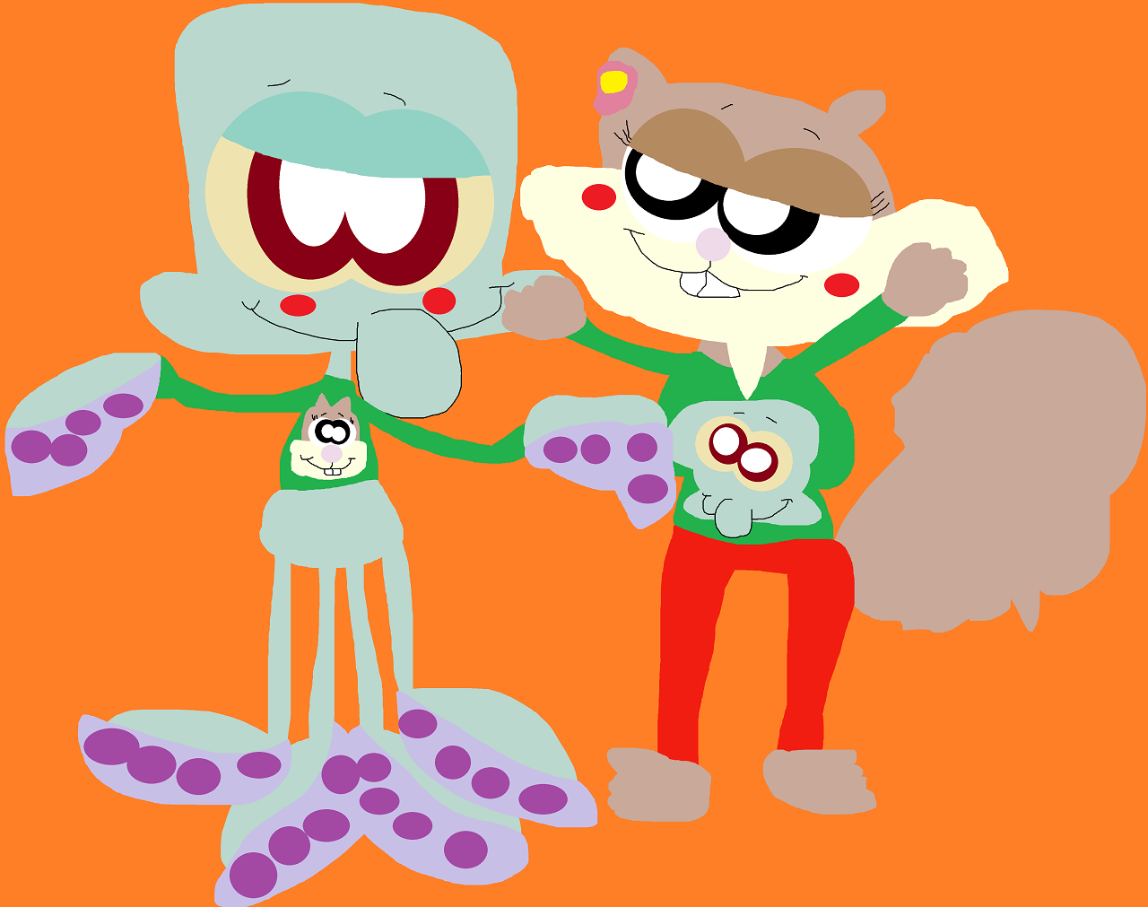 Cute Xmas Sweaters For Squidward And Sandy by Falconlobo