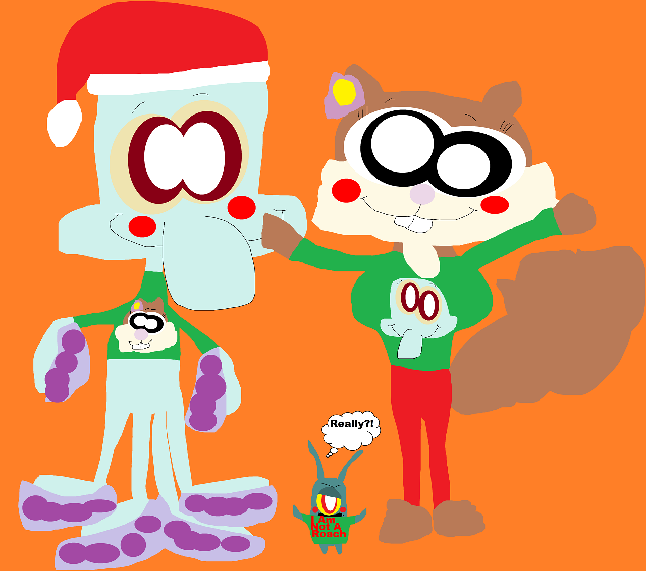 Cute Xmas Sweaters For Squiddie And Sandy Again Alt by Falconlobo