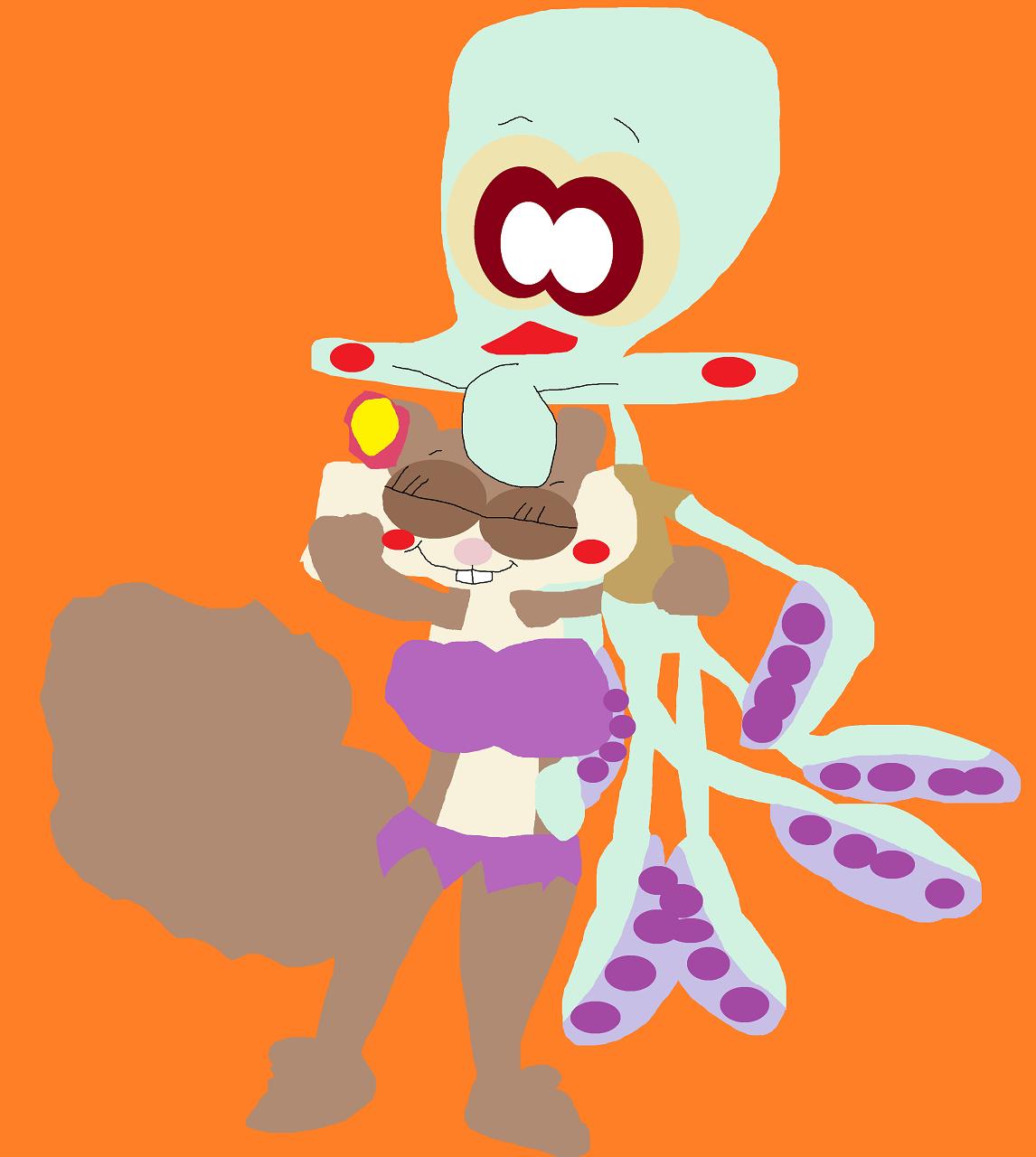 Sandy Hugging Squiddie Like A Plushie by Falconlobo