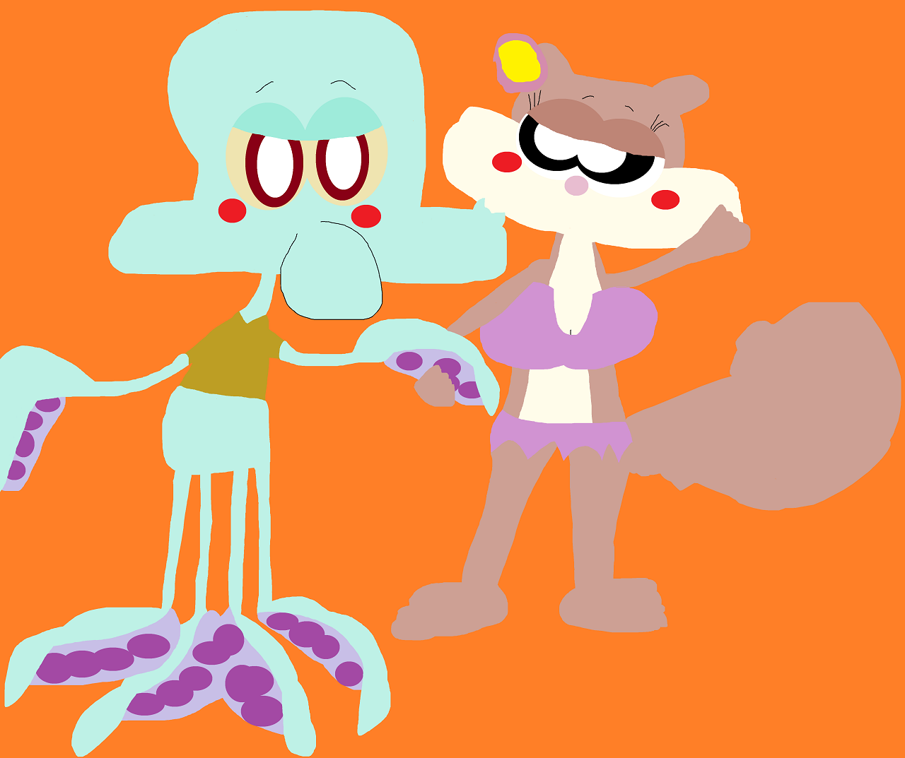 Squidward And Sandy Just Holding Hands Again Alt^^ by Falconlobo