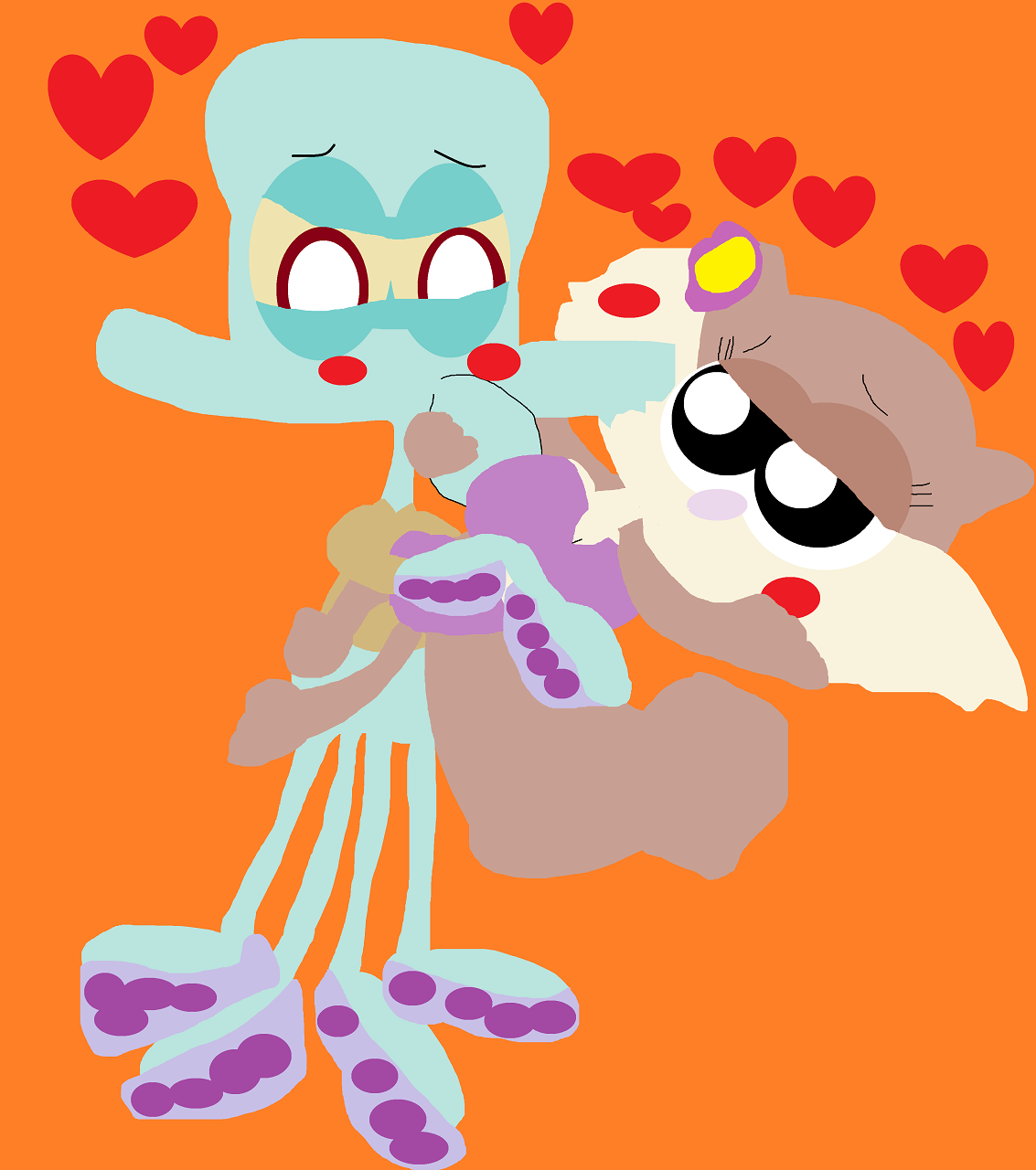 Squidward Holding Sandy Closely Alt by Falconlobo
