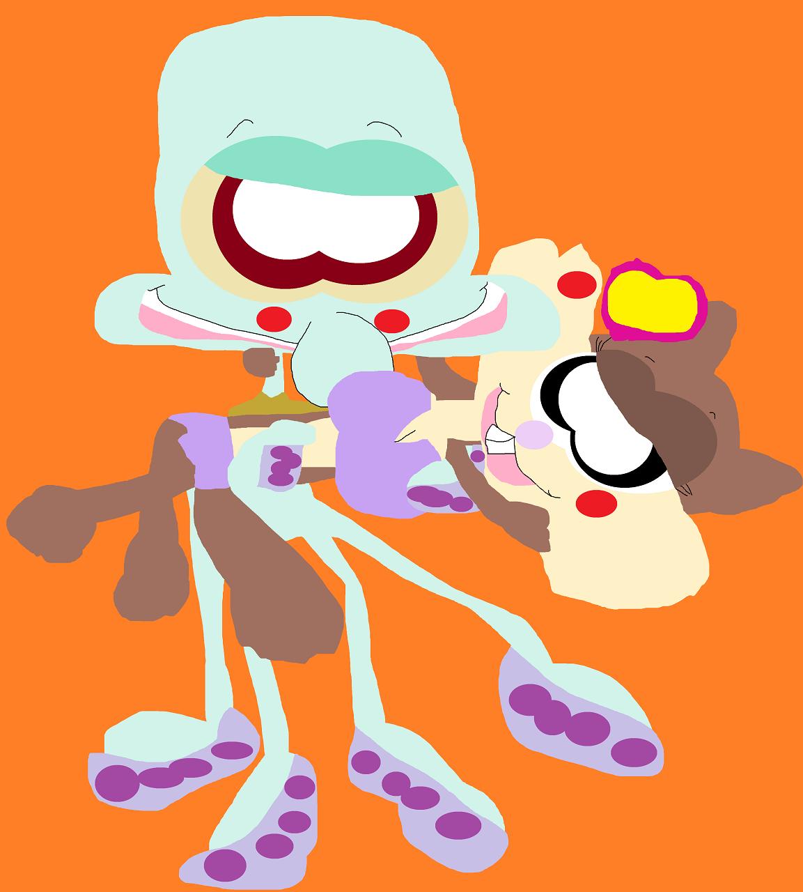 Just A Random Squidward Holding Sandy Again by Falconlobo