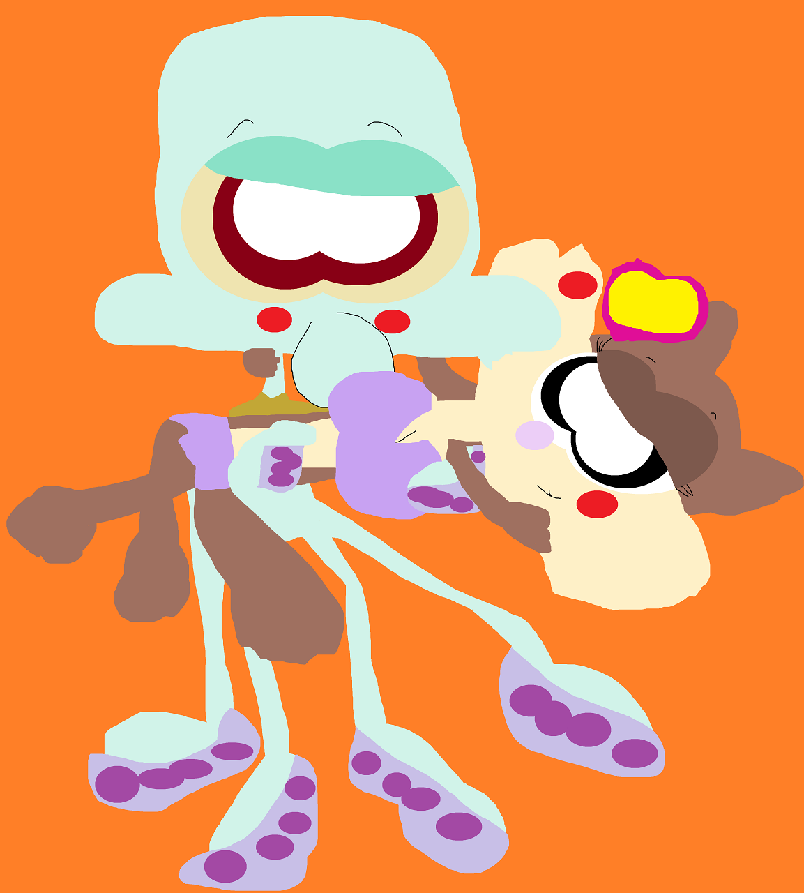 Just A Random Squidward Holding Sandy Again Alt by Falconlobo