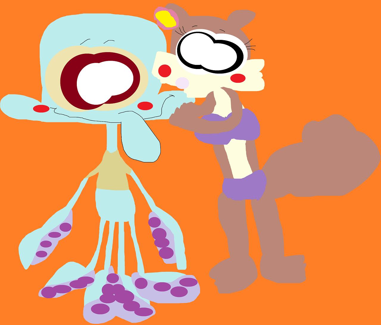 Sandy Kissing A Nervous Squidward's Cheek Again by Falconlobo