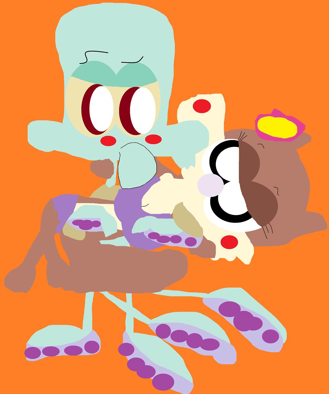 Squidward Holding Sandy Cheeks Alt by Falconlobo