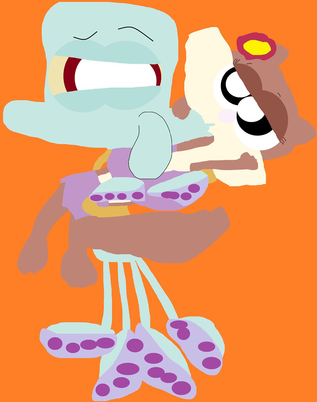 Random Squidward Holding And Kissing Sandy by Falconlobo