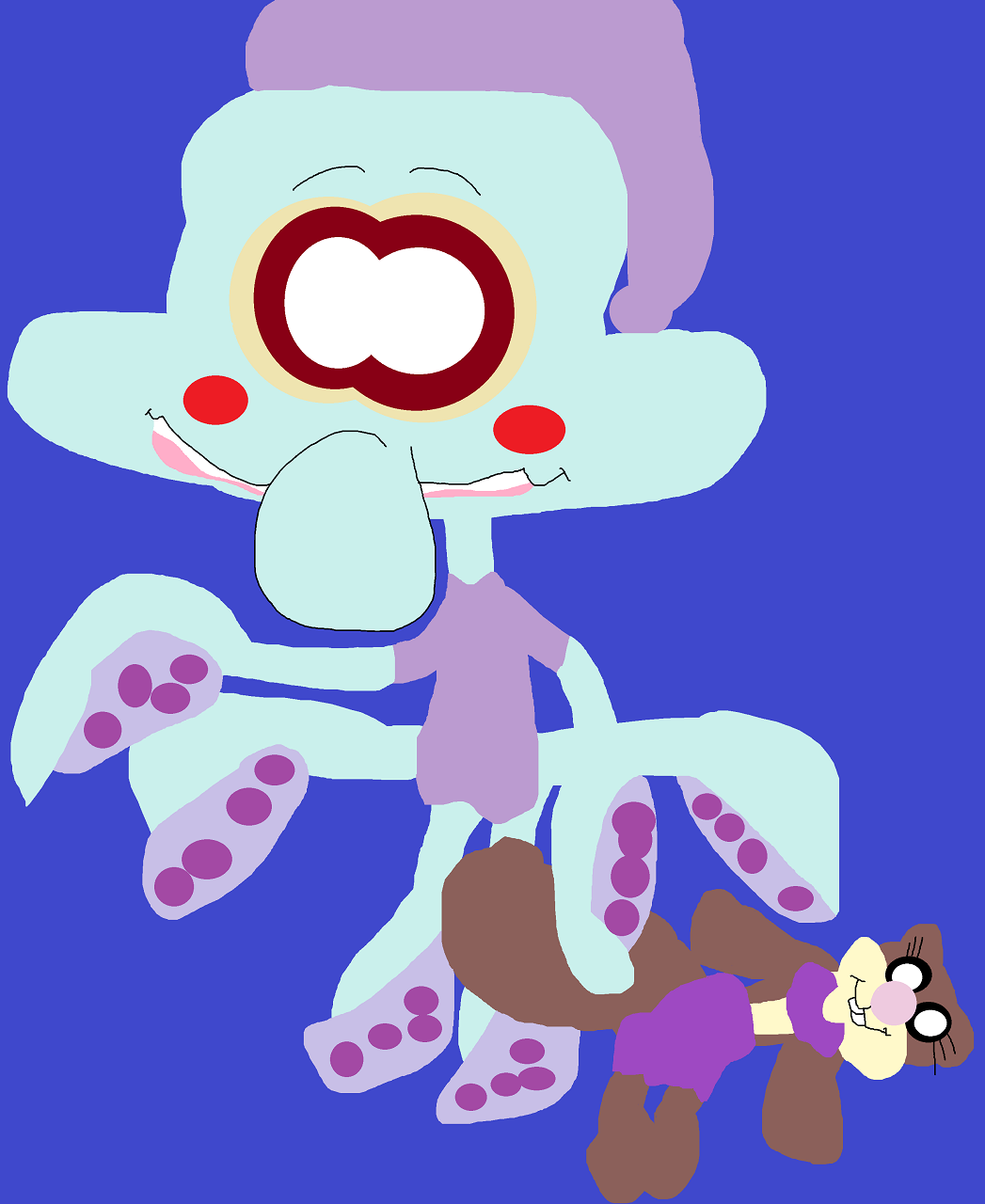 Cute Squidward Blushing And Holding A Sandy Plushie by Falconlobo