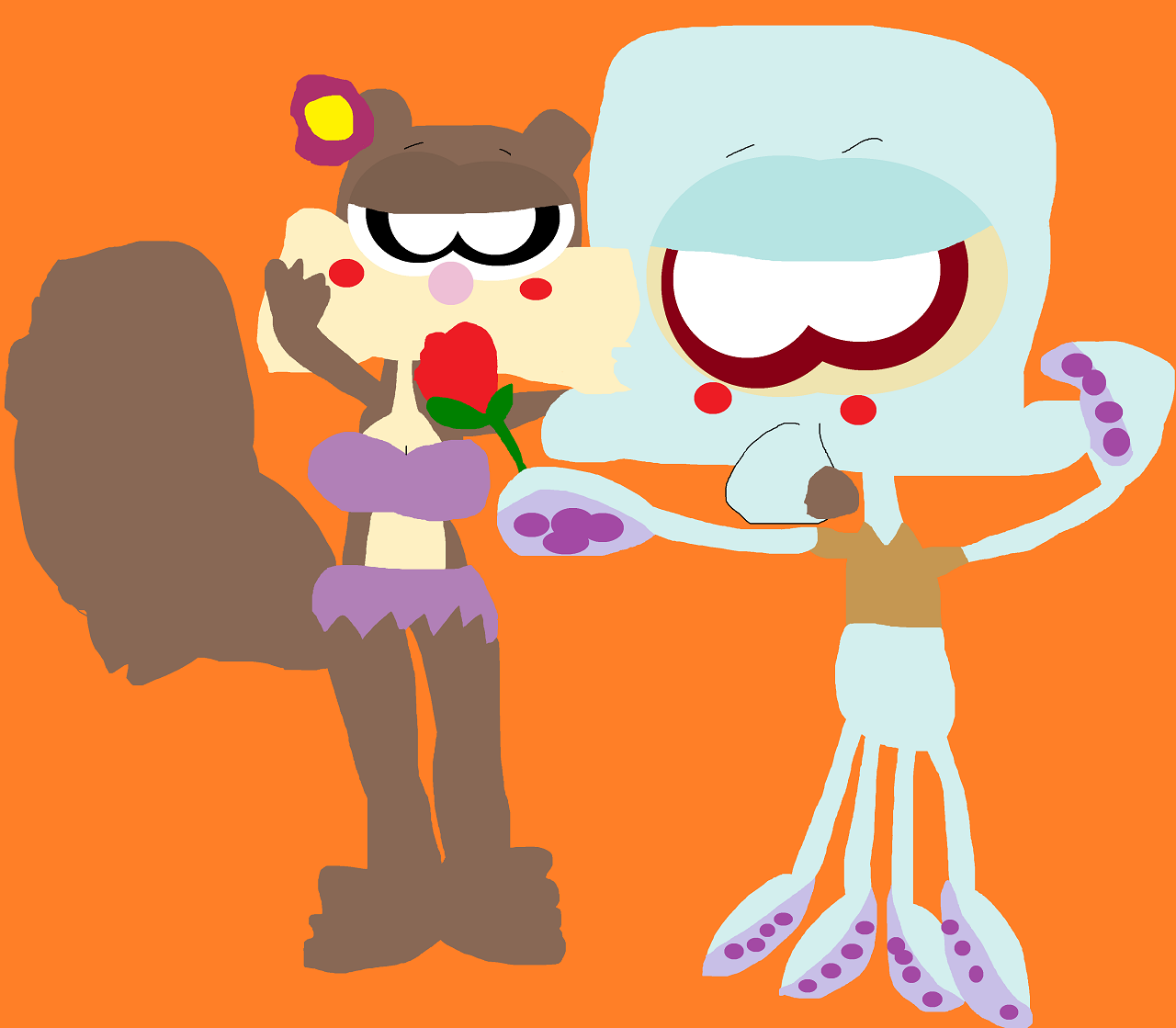 Squidward Handing Sandy A Rose Alt by Falconlobo